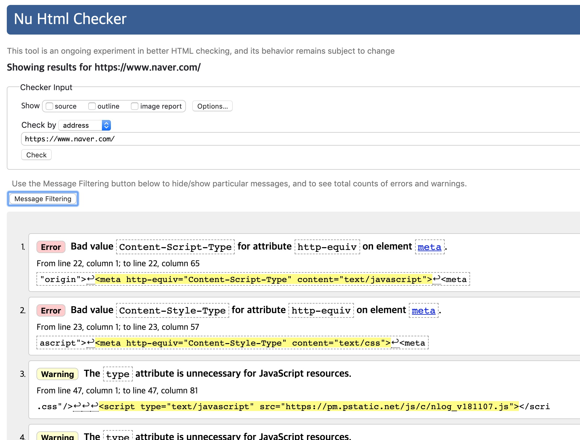 웹 표준 검사 결과 naver.com