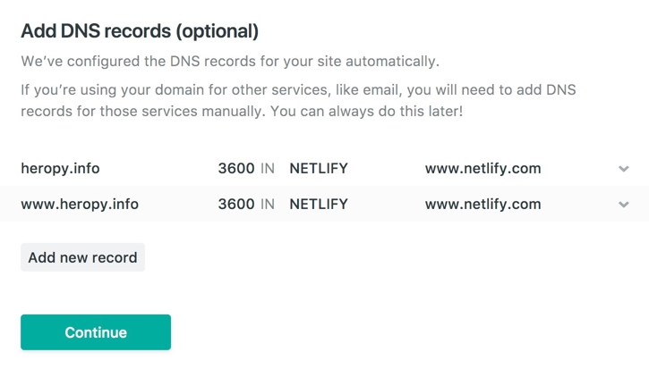 Netlify Add DNS Records