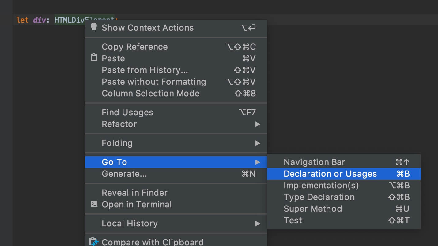 WebStorm go to declaration or usages